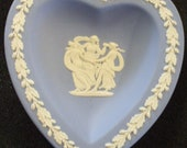 "Vintage Soft Blue Wedgwood ""Three Graces"" Heart-Shaped Dish"