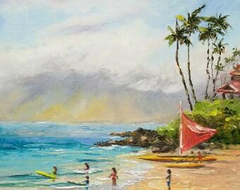 POLO BEACH MAUI Framed Original Oil Painting Art Surf Sail Tropical Ocean Hawaii Surfing Waves Makena Wailea Vacation