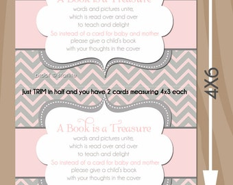 Pink Gray Baby Shower Invitation Insert Card 4x3 insert card, chevron book request, Girl Baby Shower printable bring a book card 2 per 4x6