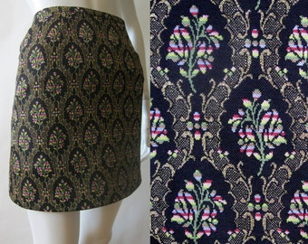 Brocade mini skirt, early 1990's, in black, metallic gold, yellow, red, pink, green, blue, white, light brown, extra small / small (2 - 4)