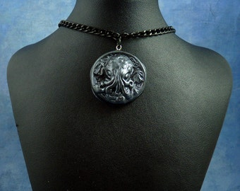 Antique Silver Small Cthulhu Cameo Necklace with Chain, Polymer Clay Fashion Jewelry