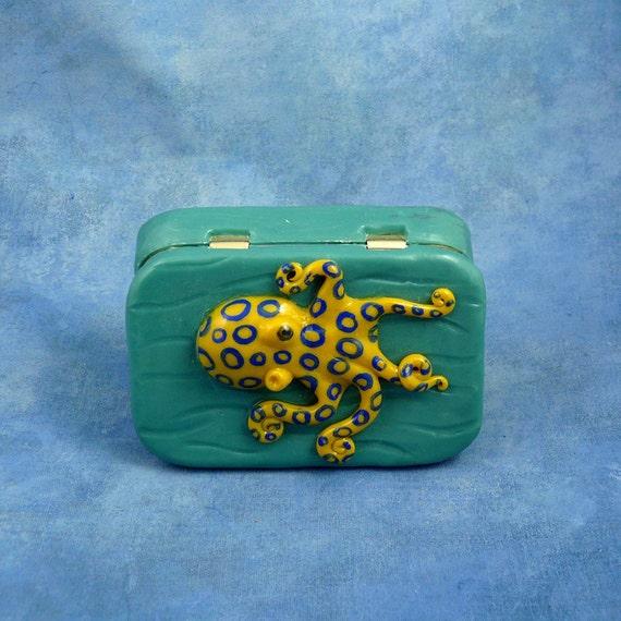 Blue Ringed Octopus Tin, Altered Art Sea Life Altoid Tin