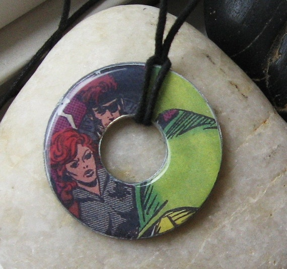 BLACK WIDOW Vintage Comic Book Upcycled Washer Pendant Necklace Marvel Comics The Avengers