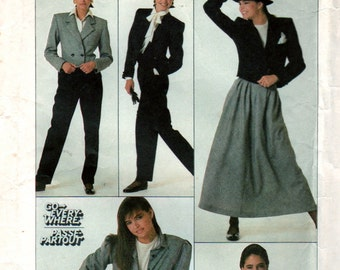 Simplicity 8247 1980s Misse  Blouse Skirt  Pants and Jacket  Pattern ala Annie Hall Womens Vintage Sewing Pattern Size 12 Bust 34 Uncut