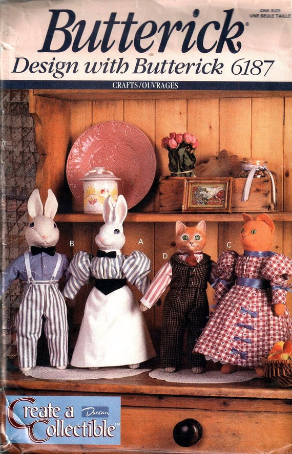 Butterick 6187 Collectible Rabbit Dolls Cat Dolls And By