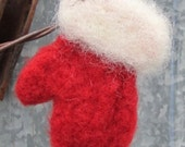 Santa's Mitten Christmas Ornament - Rich Red and Soft White Fuzzy Cuff