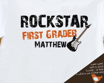 Back to school shirt - rockstar childrens first grader or any grade personalized back to school Tshirt