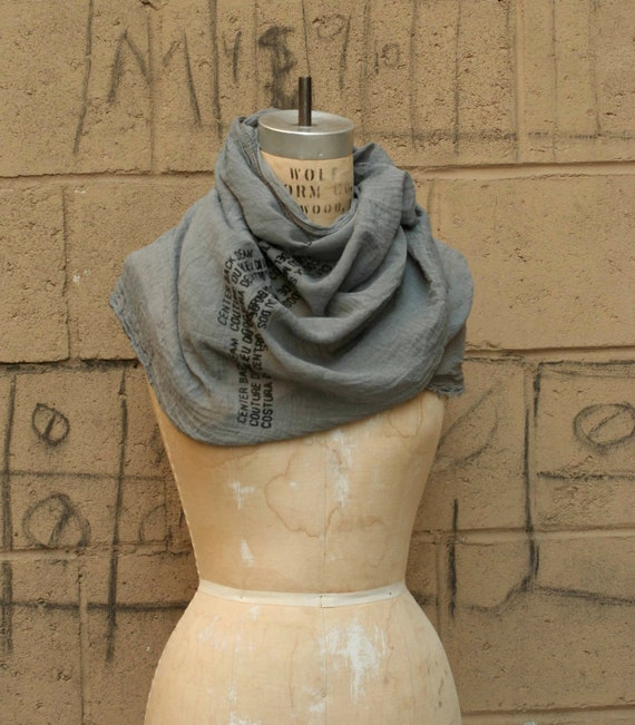SALE Scarf Cotton Gauze Hand Dyed Screen Printed Text - Ready to Ship