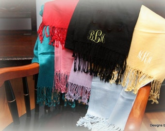 Monogrammed Pashmina Scarf - Monogrammed Shawl | Bridesmaid Gift | Monogram Scarf | Personalized | Bridal Party Gift | Personalized Scarf