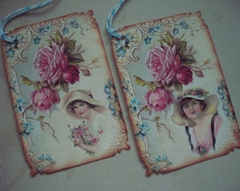 Shabby Chic ladies in hats gift tags Vintage Style tags country maidens vintage inspired tags pink roses - set of 8