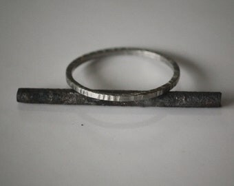 Recycled Palladium Hammered Forged Ring Eco Friendly Metal