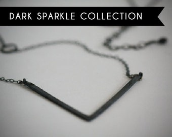 NEW Dark Sparkle Collection: Long V Geometric Oxidized and Recycled Silver Necklace