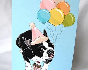 Boston Terrier 'n Balloons Greeting Card