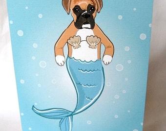 Mermaid Boxer Greeting Card