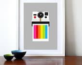 Polaroid poster print vintage camera Eames design retro rainbow office kitchen art - Instant Rainbow A3