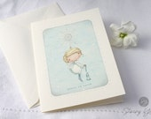 "christmas card - angel - snowflake - bell - blue - snow - winter - holiday - ""A SIMPLE WISH!""."