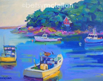 Maine Harbor - New Harbor, Maine Boats - Paper - Canvas - Wood Block