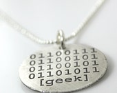 SALE - Binary Code GEEK etched sterling silver necklace - Ready to Ship
