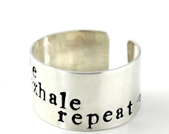 inhale exhale repeat hand stamped sterling silver cuff ring