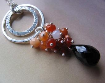 Sterling Silver Gemstone Pendant, Black Spinel Fire Opal Red Black, Sterling Silver Circle Necklace, Handmade Jewellery