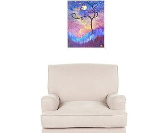 Moon and stars, Original painting, 11x14 modern art cosmos painting, Tree art