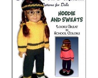 "Doll clothes knitting pattern. Fits American Girl Doll.18 inch.  AG 18""  Instant Download 021"