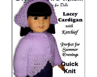 Knitting Pattern, fits American Girl, 18 inch dolls. Cardigan. Instant Download 019