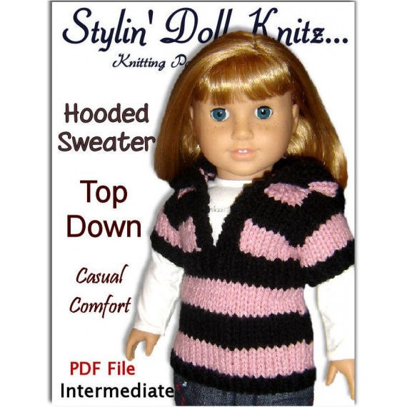 Knitting Pattern for Dolls. Fits American Girl and 18 inch, PDF Instant Download 037