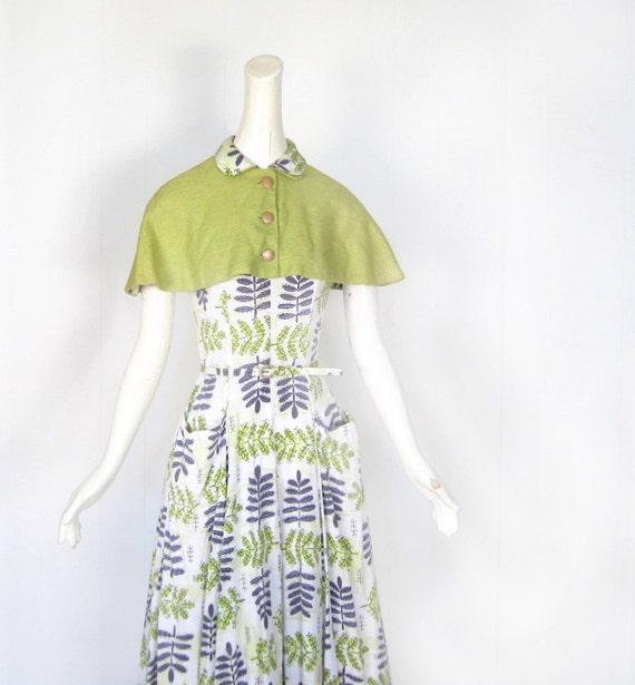 1950s Dress Set / 50s Dress / Fern Print / Chartreuse Capelet / XS