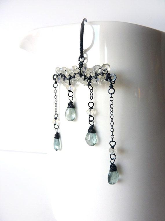 Cloud Acid Rain - Moonstone & Aquamarine Oxidized Sterling Silver Dangle Earrings - One of a Kind - Tagt - Free Shipping