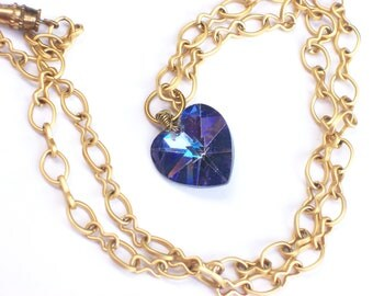 Purple Heart Necklace - Violet Crystal Heart Pendant with Matte Gold Chain