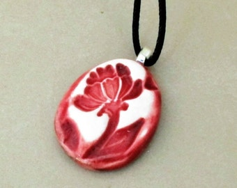 Red Flower Ceramic Oval Pendant Necklace Handmade Pottery Jewelry