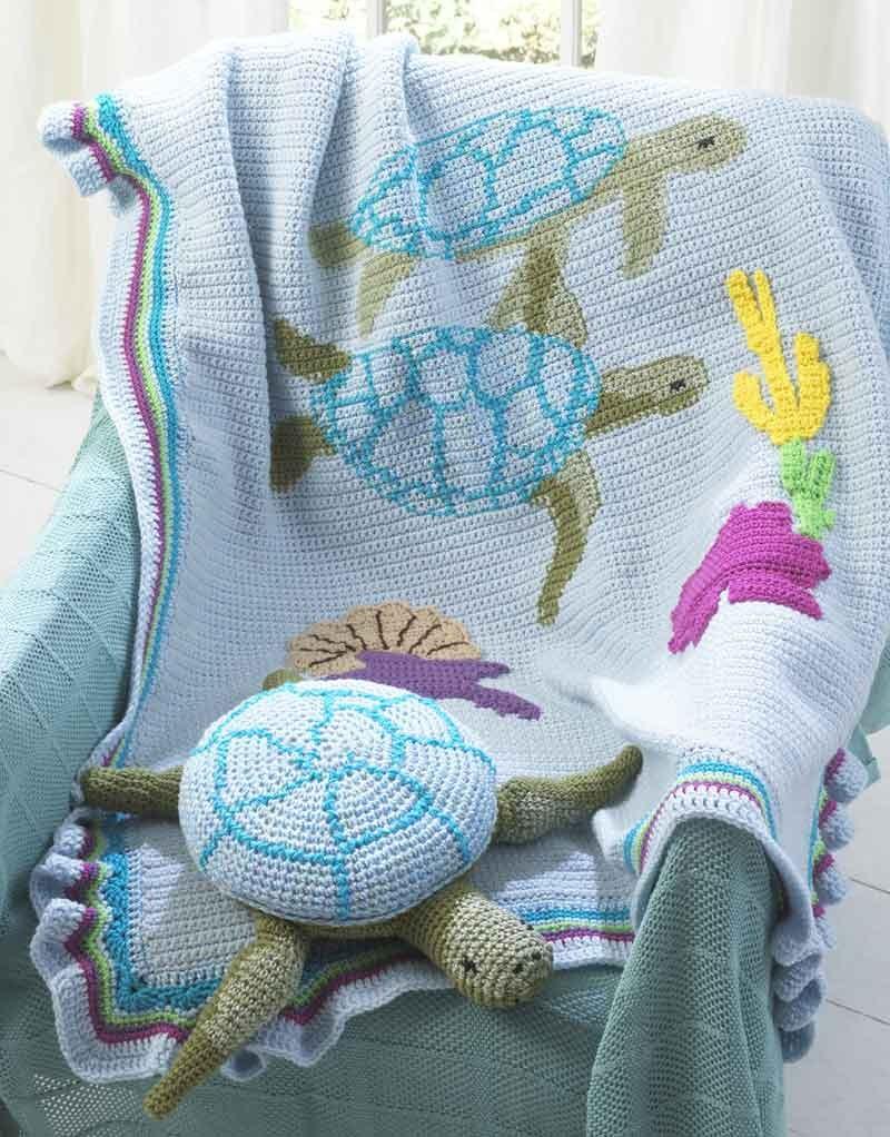 Turtle Afghan Amp Pillow Toy Pattern Crochet Pattern Pdf