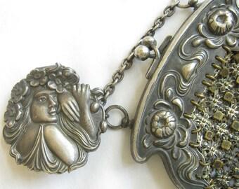 Art Nouveau Metal Mesh Chatelaine Purse Repousse Goddess Flora, Chain Maille Vintage