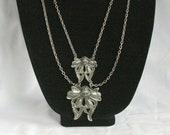 Art Nouveau Lavalier Necklace Gunmetal Silver Vintage Pendants Multi Chain