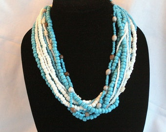 Blue White Glass Bib Necklace Vintage Multi Strand Twisted Beads Tribal Africa