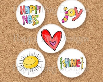 """CLOSEOUT Sun Shine Mini Set of Magnets - Five 1 inch magnets 1"""""""