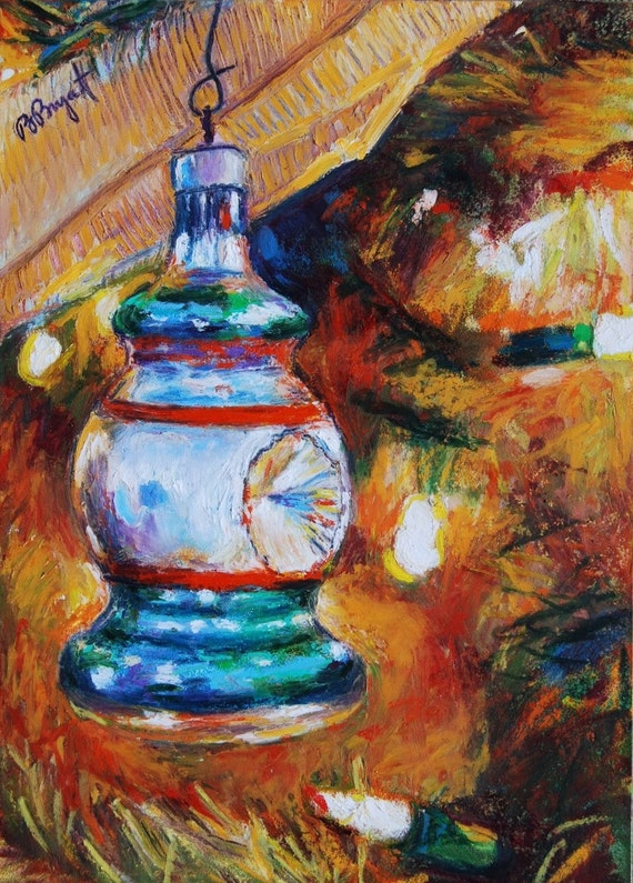 items similar to holiday ornament painting  original oil