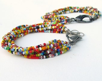 African Trade Bead Multi Strand Bracelet, Brightly Colored Vintage Glass Christmas Bead Mixture Bracelet with Large Clasp