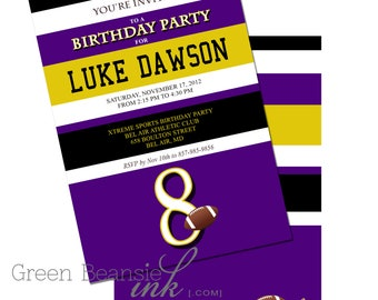 FOOTBALL PARTY - Custom team colors included - Printable Party Invitation Printing Available