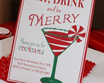 COCKTAIL MARTINI Printable Party Invitation - Red and Green Printing Available