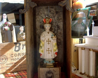 2nd Layaway payment----Hold for Tatiana --A Babe's Blessings- Original Handcrafted Vintage Infant of Prague Shadowbox-