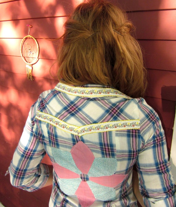 In The Plaid Western Upcycled Clothing Button Up Shirt Blouse with Vintage Trim and Patchwork Back Size Small by MountainGirlClothing