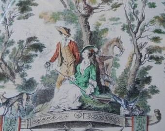 Watteau Print / Antique Watteau Print / Framed Vintage Rococo Print / Rococo / Hunting Art / Hunt Art