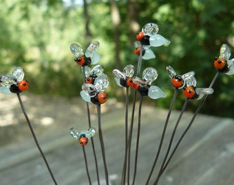 Patio decor, large glass fireflies (one) with glow butt plant pokers, glow in the dark, firefly decoration MTO