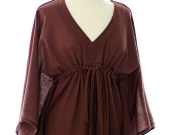 Kaftan Maxi Dress - Beach Cover Up - Caftan in Brown Cotton Gauze - 20 Colors