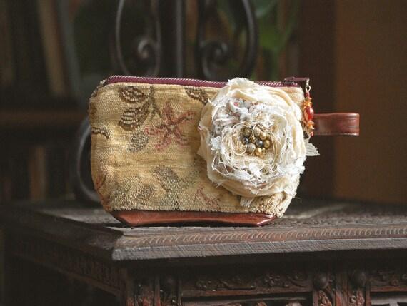 Rambling Rose Keepsake Zipper Pouch .. mahogany leather bottom oatmeal cream velvet chenille muted autumn hues fall olive taupe