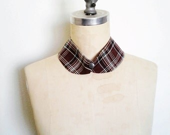 The Collar Necklace, Detachable Collar, Brown Plaid Collar Necklace, Ready to Ship