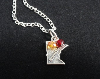 Minnesota Golden Gophers Necklace, Minnesota State Map Sterling Silver Vintage Charm, Red & Yellow Beaded Pendant, Minnesota Necklace