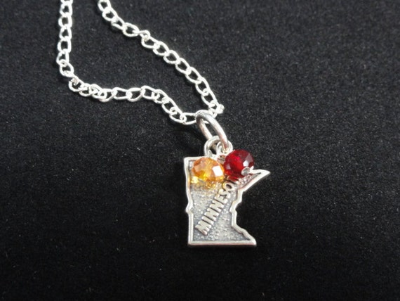University of Minnesota Golden Gophers Sterling Silver State Map Charm Pendant Necklace